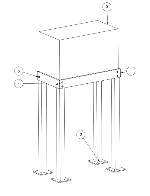 Bolt together steel whole house generator stand